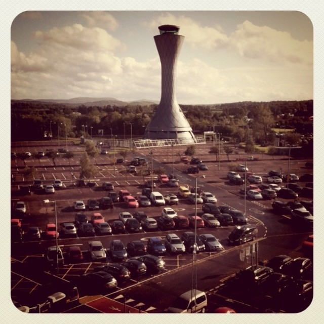 """Edinburgh Airport air traffic control tower (Retro)"" stock image"