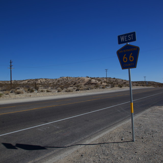"""West on Route 66"" stock image"