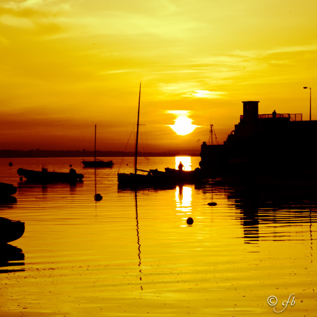 """Sunset in Skerries Harbour"" stock image"