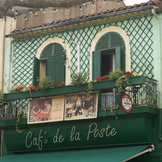 """""""Cafe de la Poste"""" stock image"""
