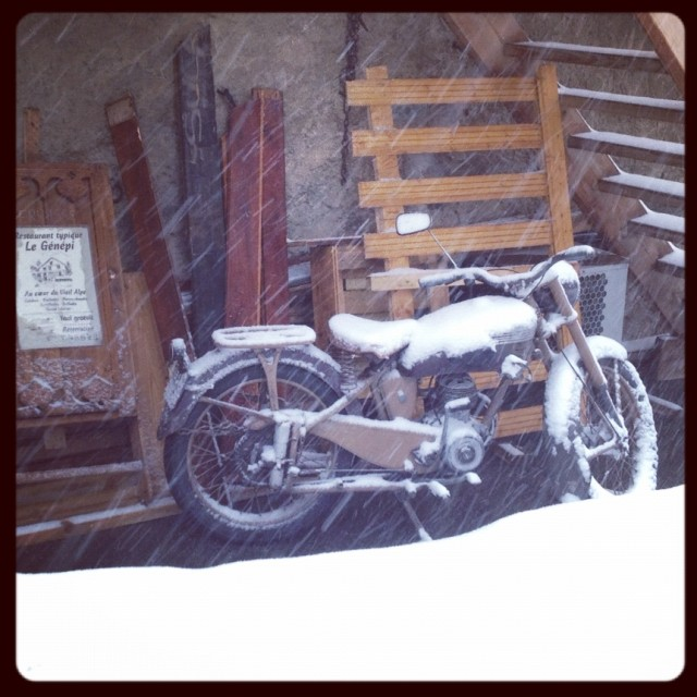 """""""Motorcycle - snow"""" stock image"""