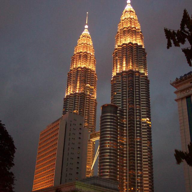 """""""Twin Towers in Kuala Lumpur"""" stock image"""