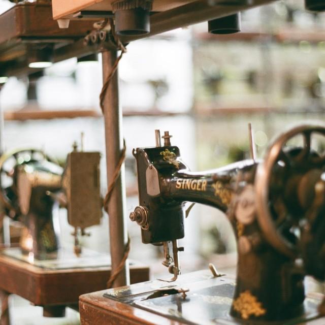 """Singer sewing machine in a shop on Portobello Road Market"" stock image"