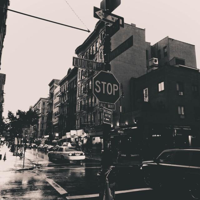 """Rainy Lower East Side, NYC."" stock image"