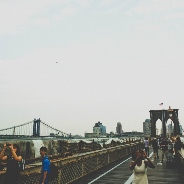 """Meanwhile on the Brooklyn Bridge.."" stock image"