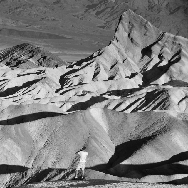 """B&W photographer at Death Valley"" stock image"