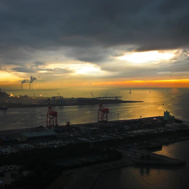 """Chiba port sunset"" stock image"