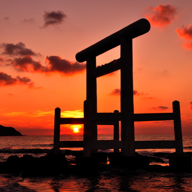 """Shrine gateway sunset"" stock image"