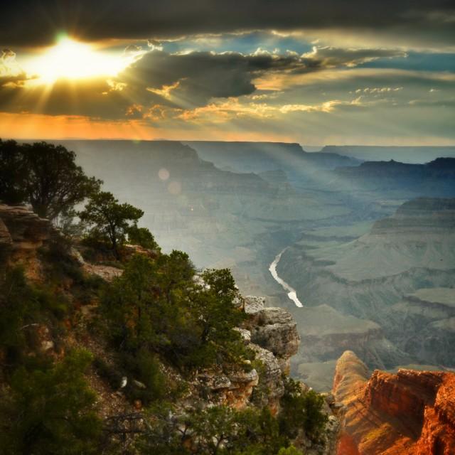"""Sinking sun Grand Canyon"" stock image"