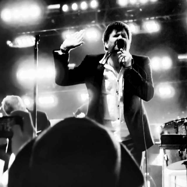 """""""James Murphy at final LCD gig, NY"""" stock image"""