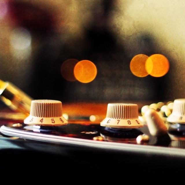 """""""A closeup of a guitar."""" stock image"""