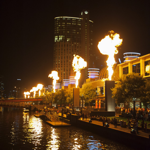 """Crown Casino Flames"" stock image"