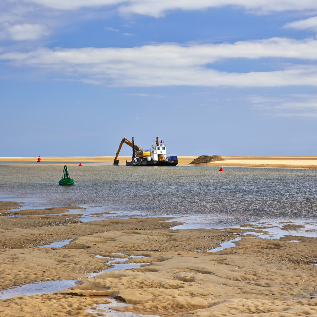 """Dredging at sea"" stock image"