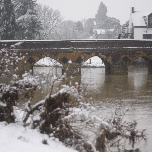 """Mill Bridge, Shipston-on-Stour in the snow."" stock image"