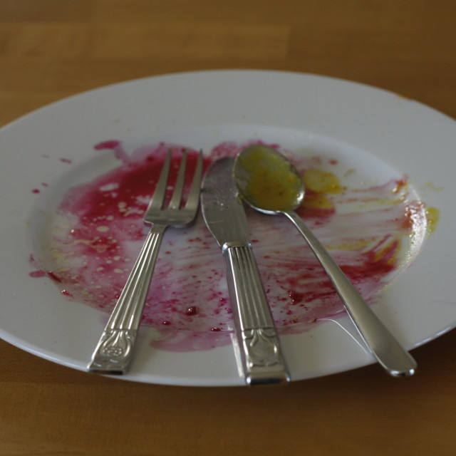 """""""Breakfast is finished"""" stock image"""