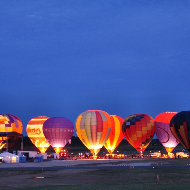 """Hot Air Balloons Glowing"" stock image"