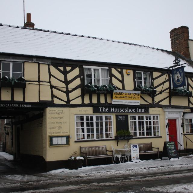 """Horseshoe Inn, Shipston-On-Stour, in the snow"" stock image"