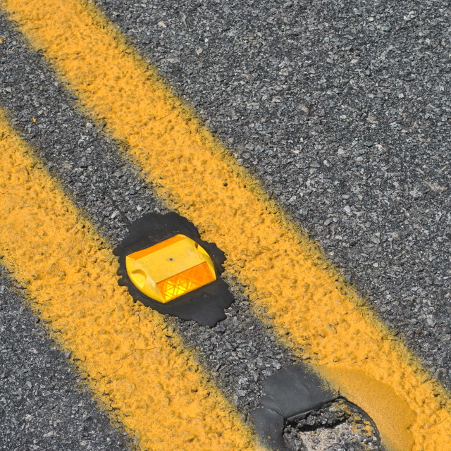 """orange reflector in road"" stock image"