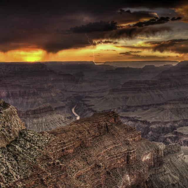 """""""Grand Canyon lightning sunset"""" stock image"""
