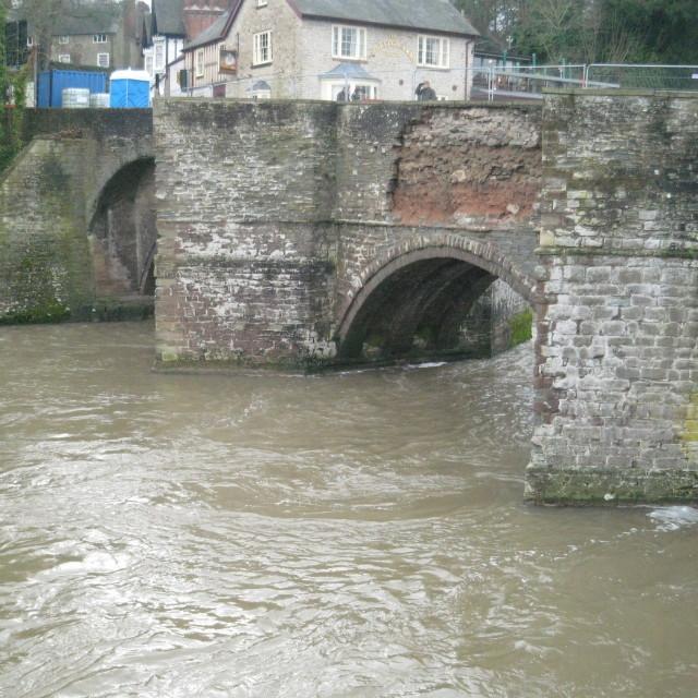 """""""Damaged Bridge, Ludlow, River Teme"""" stock image"""