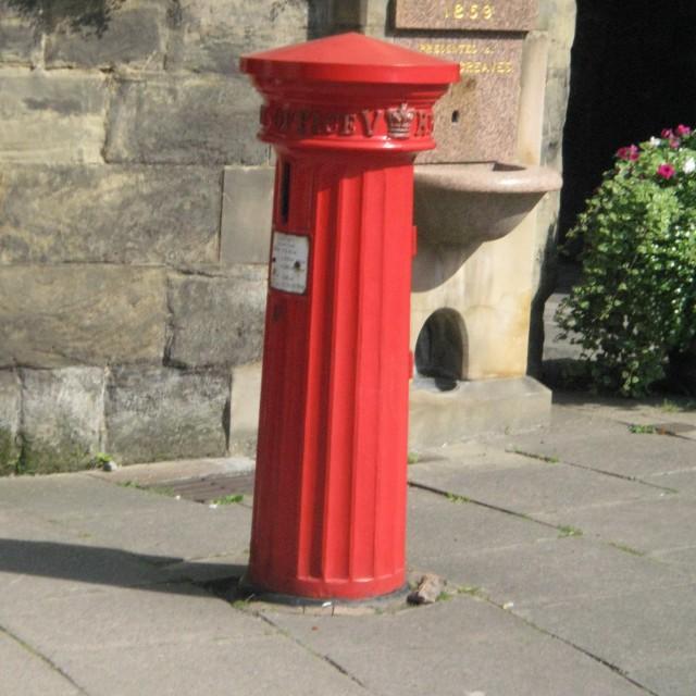 """Victorian Post Box, Eastgate, Warwick, Warwickshire"" stock image"