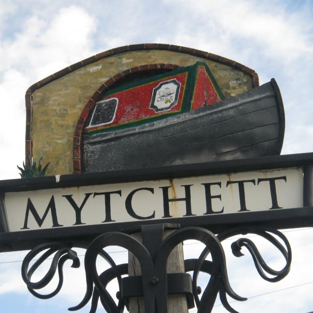 """Town Sign, Mytchett, Surrey"" stock image"