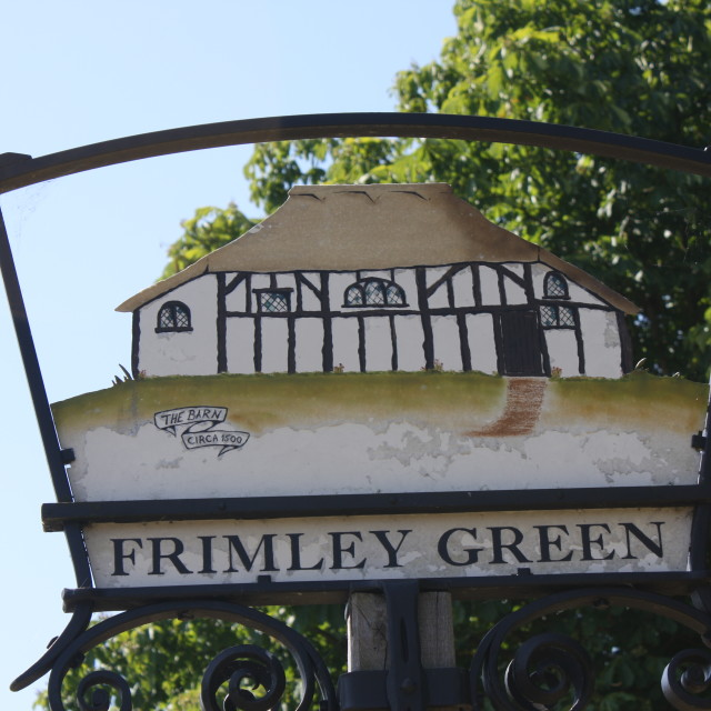 """Village Sign, Frimley Green, Surrey"" stock image"