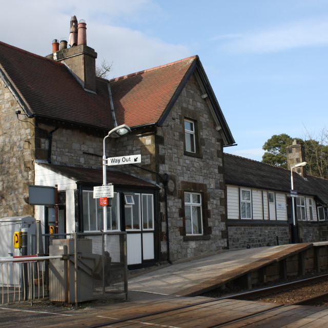 """Kents Bank Rail Station, Cumbria"" stock image"