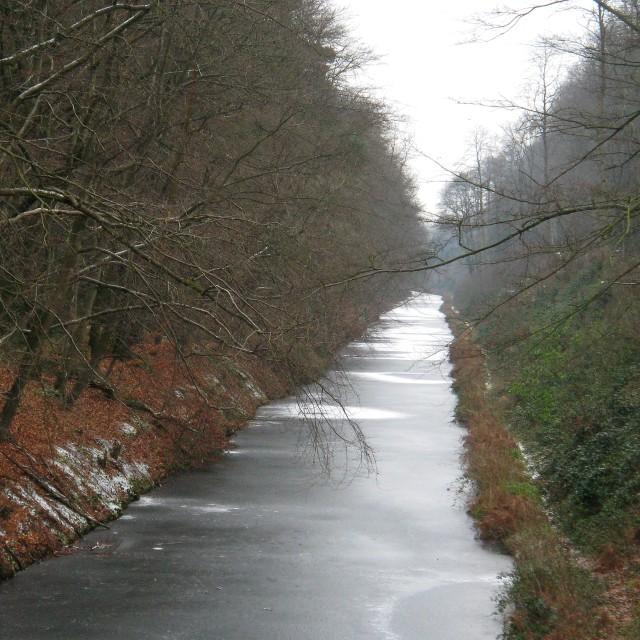 """Basingstoke Canal, Frozen"" stock image"