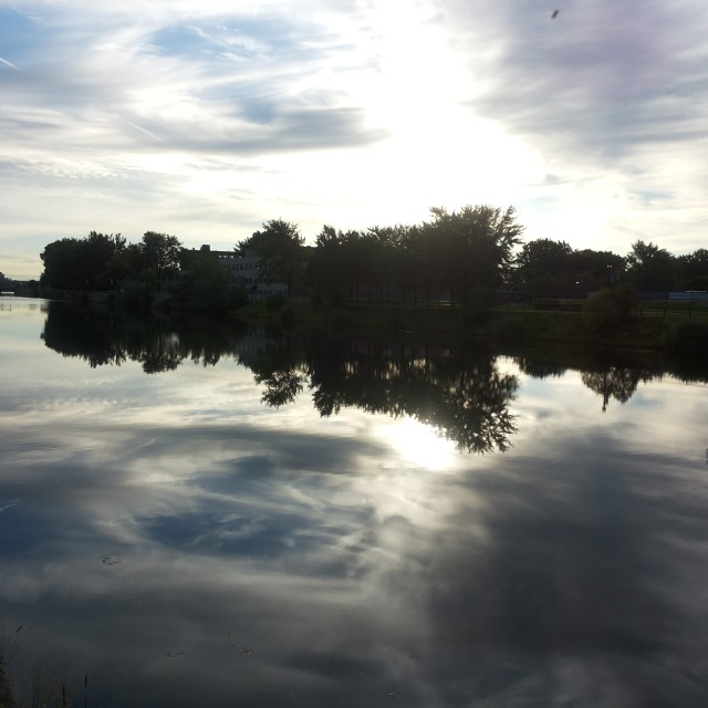 """Lachine Canal Mirrored"" stock image"