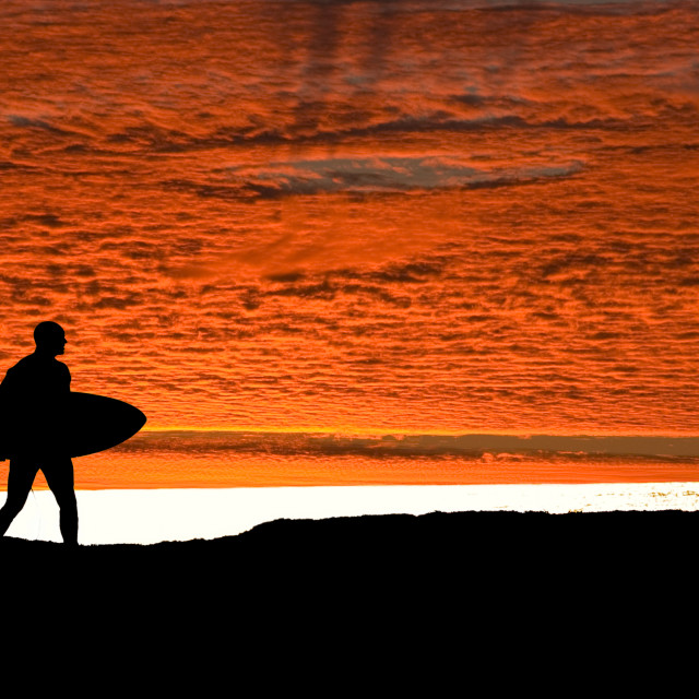 """""""Surfer walking to the sea"""" stock image"""