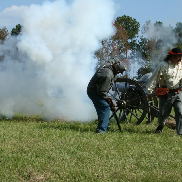 """Civil War Reenactment Cannon Fire"" stock image"
