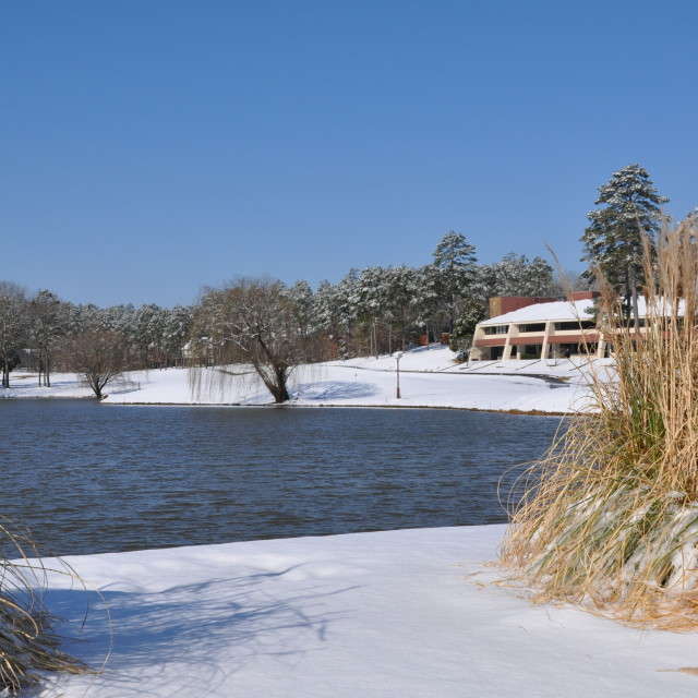 """Pond, snow, clubhouse"" stock image"