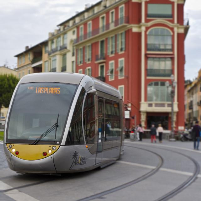 """""""Tram in Nice, France"""" stock image"""