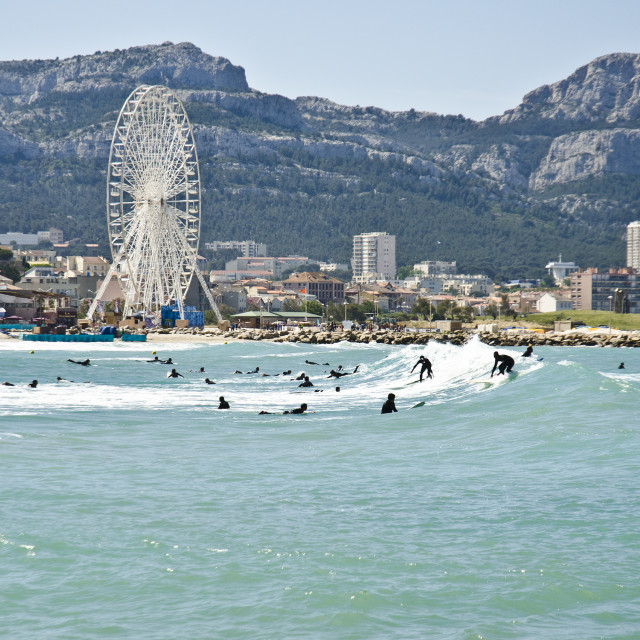 """Surfers, Marseille, France"" stock image"