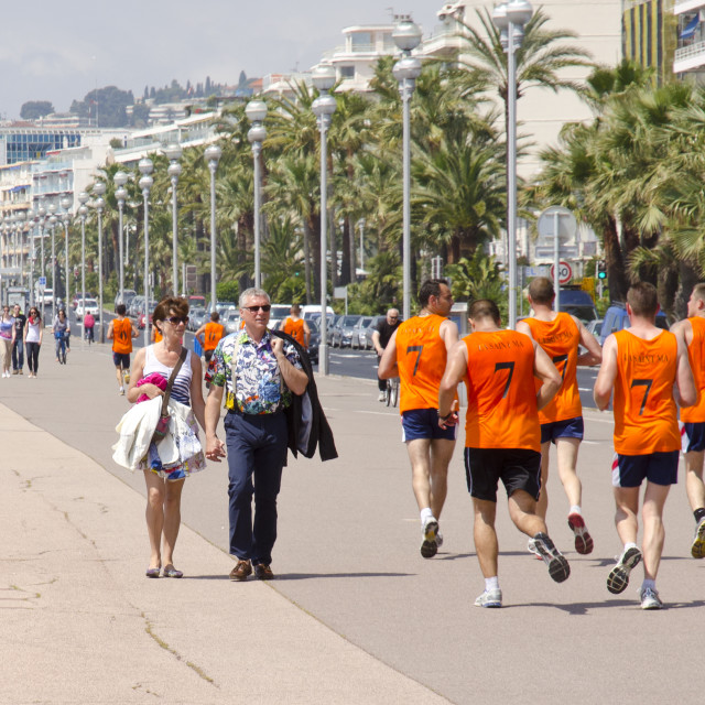 """Firemen Running on the Boulevard des Anglais, Nice, France"" stock image"