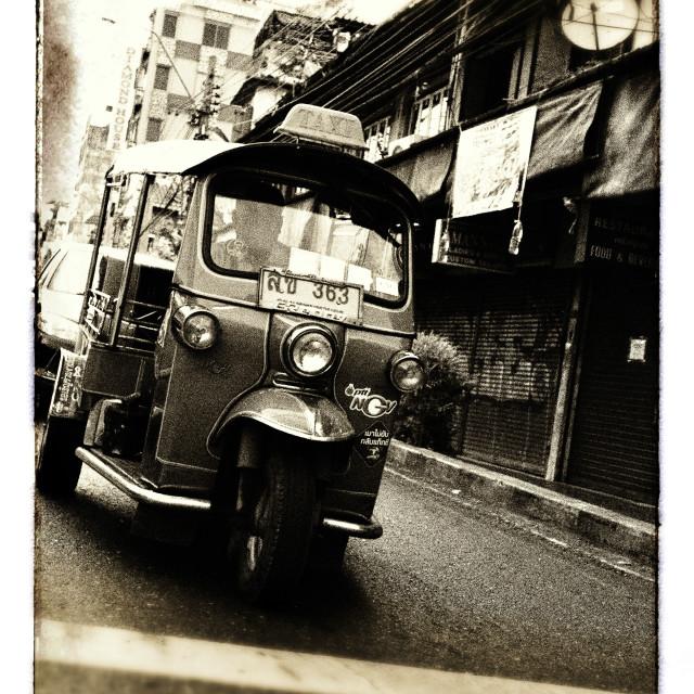 """""""Bangkok Tuk Tuk Sepia Grunge"""" stock image"""
