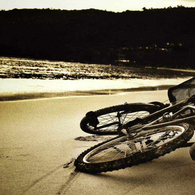 """""""Bicycle On Tropical Beach - Sepia"""" stock image"""