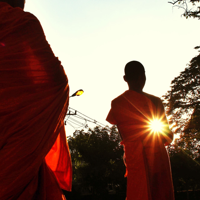 """""""Monks With Ethereal Lens Flare"""" stock image"""