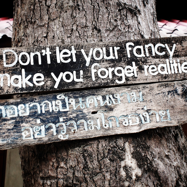 """""""Don't Let Your Fancys, Make You Forget Realities"""" stock image"""