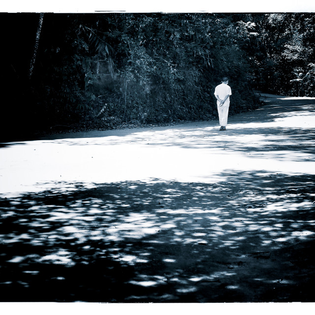 """""""A Contemplative Monk Walking Alone - Black and White"""" stock image"""