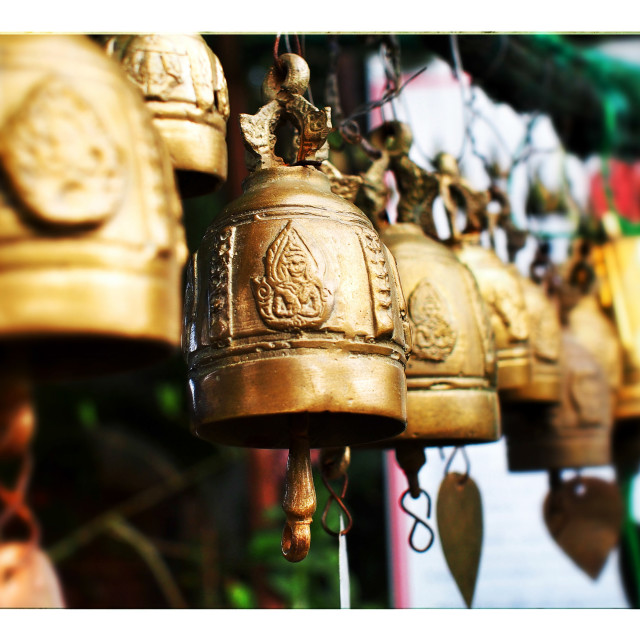 """""""A String of Bells near a Buddhist Wat (temple) in Thailand"""" stock image"""