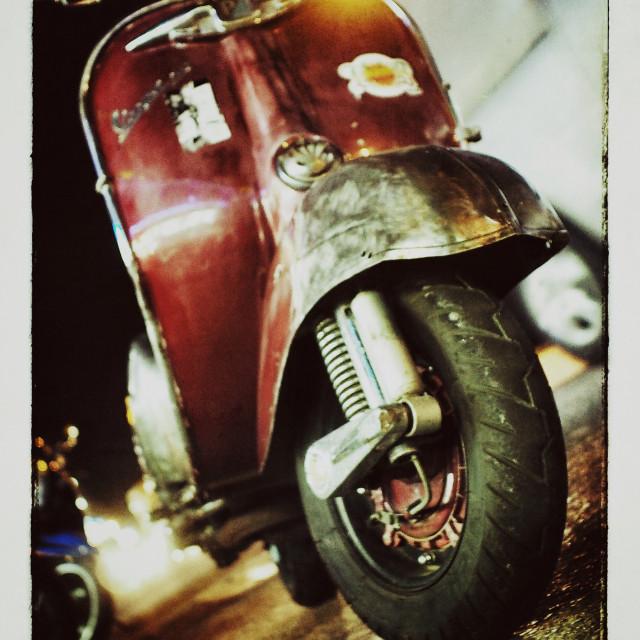 """""""Vintage Red Vespa"""" stock image"""