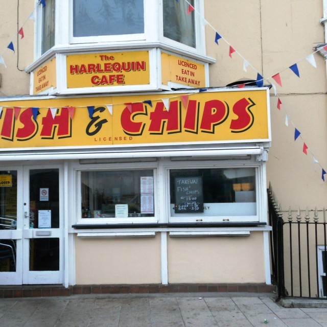 """English Fish and Chip Shop"" stock image"