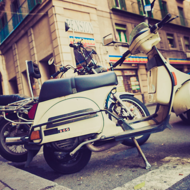 """Parked mopeds"" stock image"