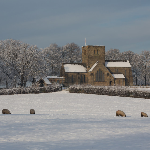 """Church in the snow"" stock image"
