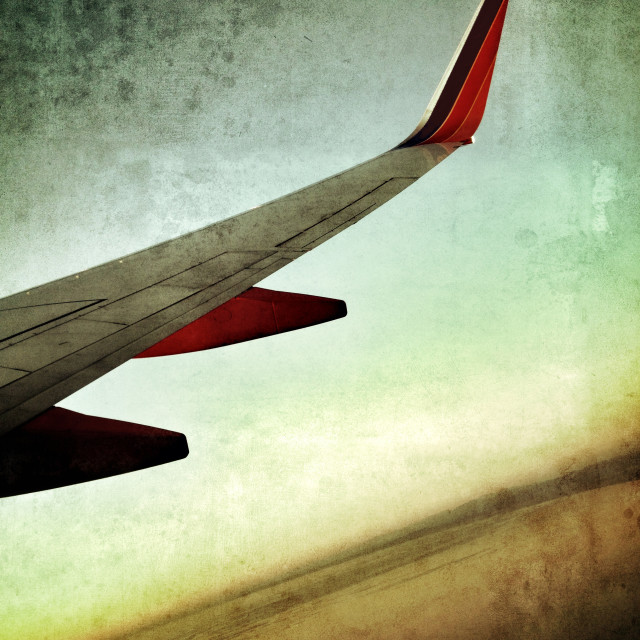 """Airplane Wing Artistic Treatment"" stock image"