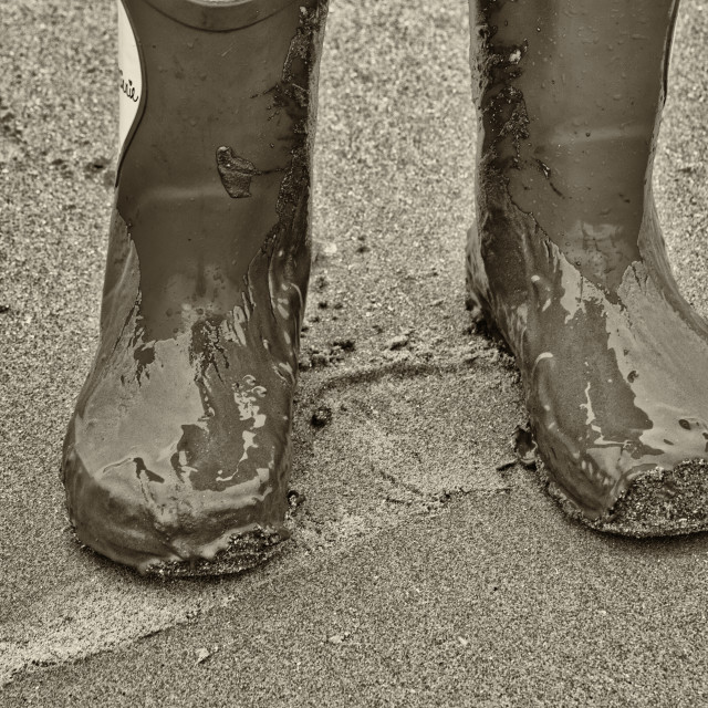 """Muddy wellies"" stock image"
