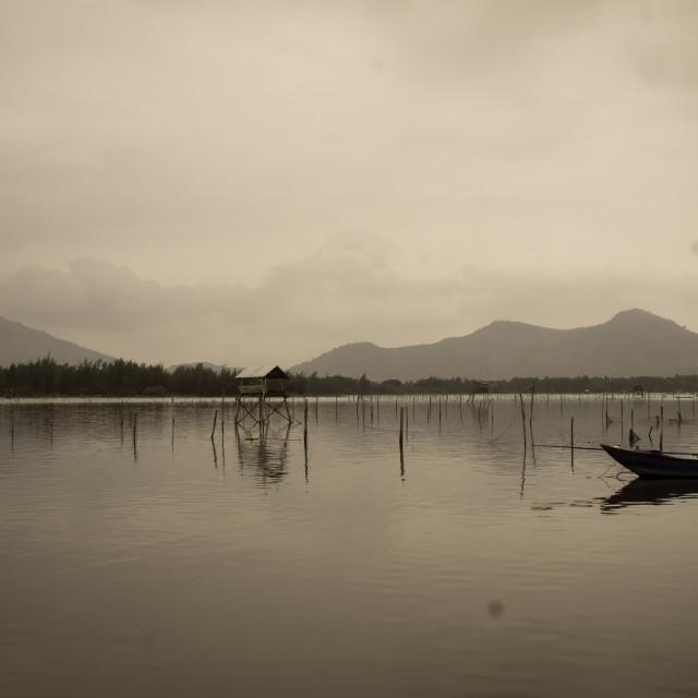 """Misty Viet Lake"" stock image"