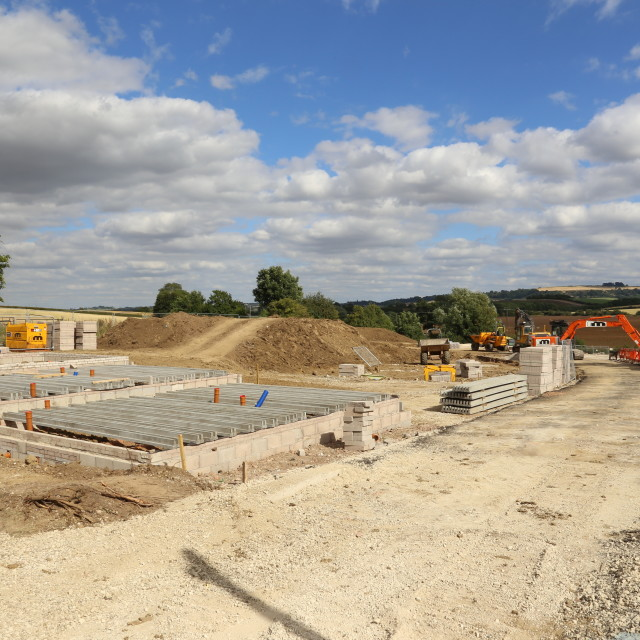 """""""Finished for the day a building site, Shipston-on-Stour"""" stock image"""